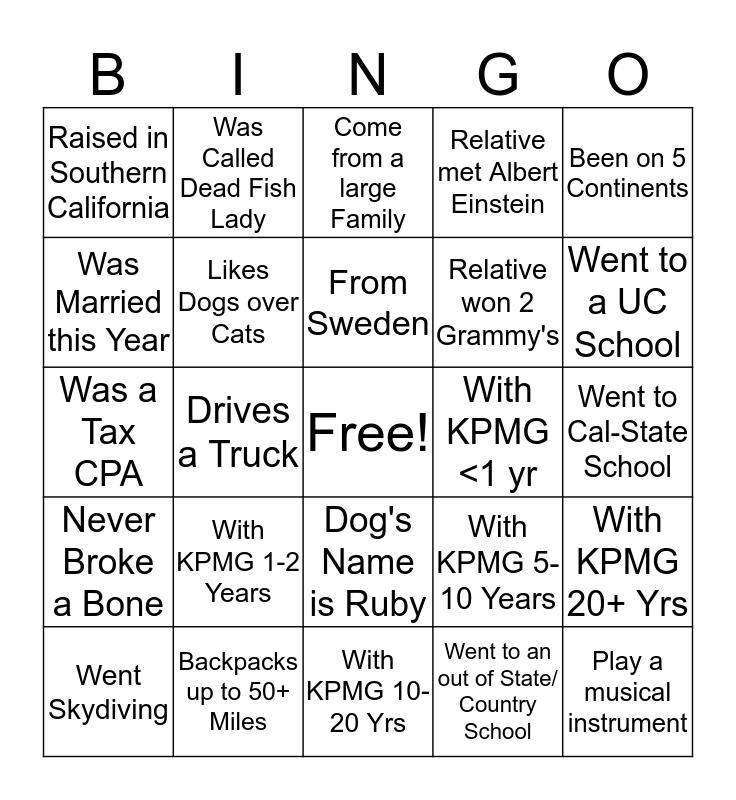 KPMG Bingo Card