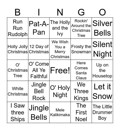 Holiday Carol Bingo Card