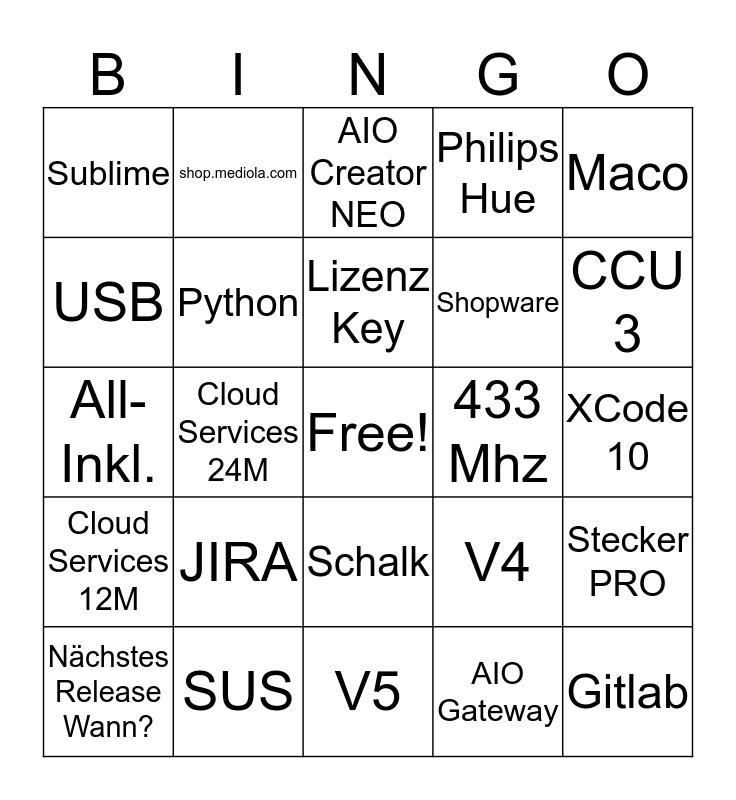 mediola Bingo Card