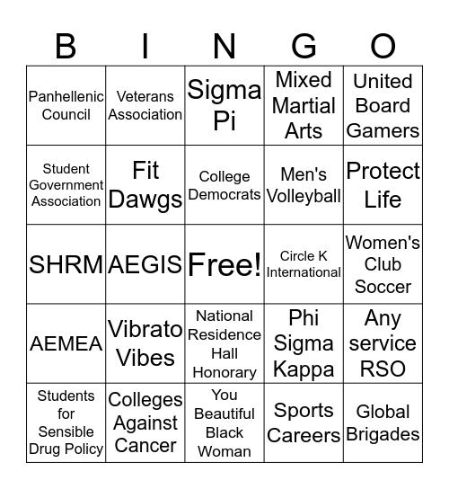 Spring RSO Fair 2020 Bingo Card