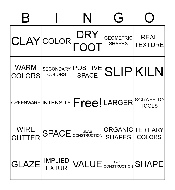 CERAMICS BINGO Card