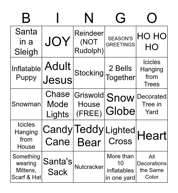 Christmas Lights Bingo Card