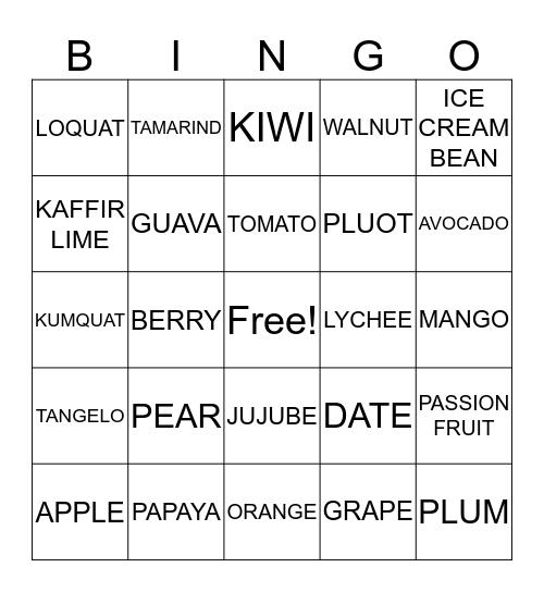 WE GROW FRUIT Bingo Card