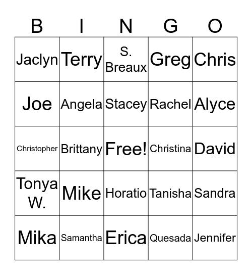 PAHA BINGO  Bingo Card