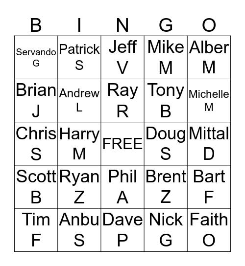 Call Off Bingo Card