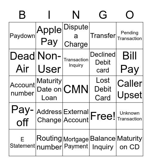 Call Center Bingo Card