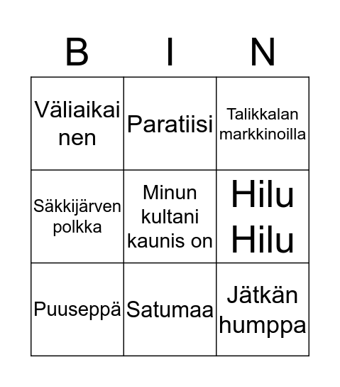 Musiikki bingo Card