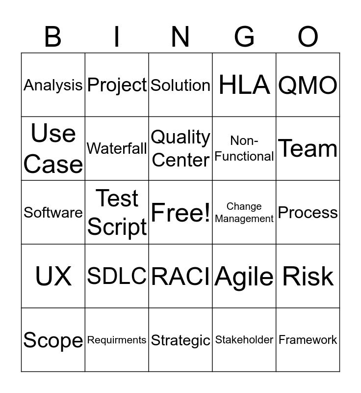 Analyst Bingo Card