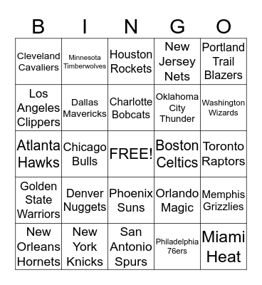 NBA TEAMS START: 05/12/14 Bingo Card