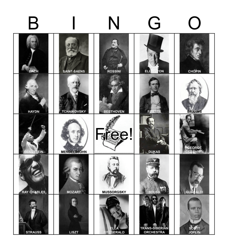 COMPOSERS Bingo Card