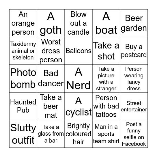 Boozy Bingo  Bingo Card