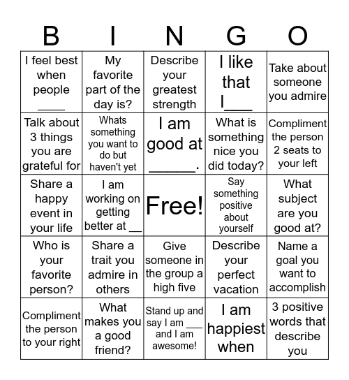 Self-Esteem Bingo  Bingo Card