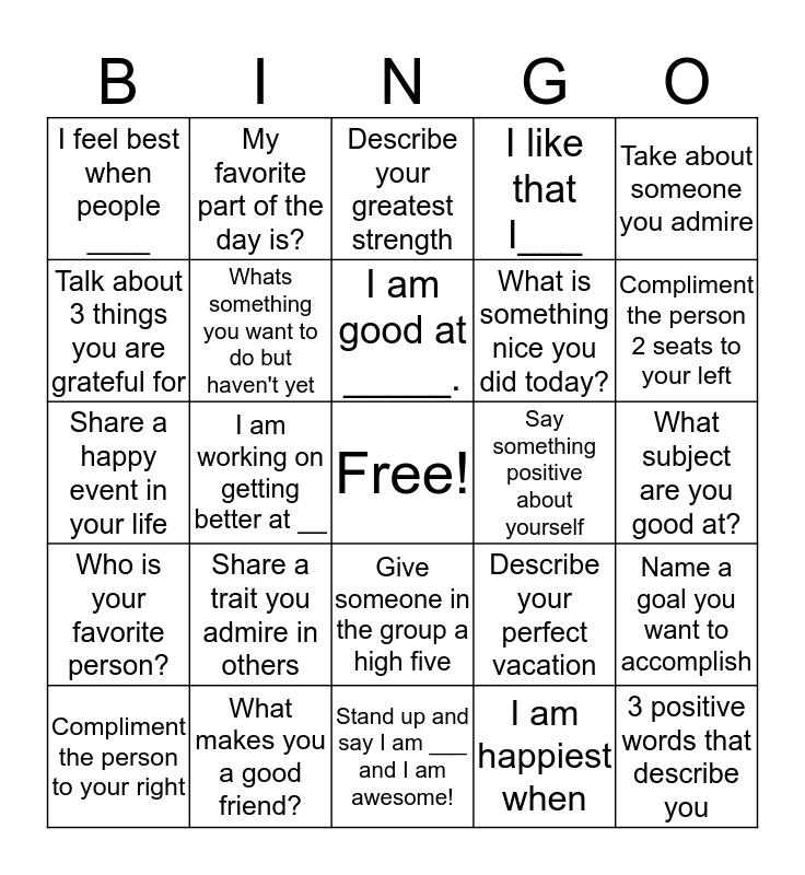 Self-Esteem Bingo  Bingo Card