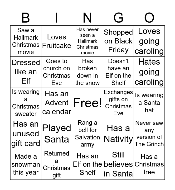 Christmas Ice Breaker Bingo Card