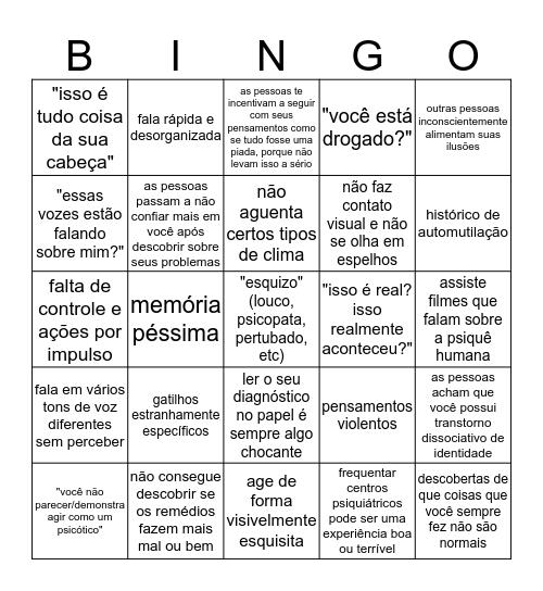 esquizofrenia (e psicose em geral) Bingo Card