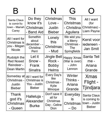 Kerstmuziek Bingo Card