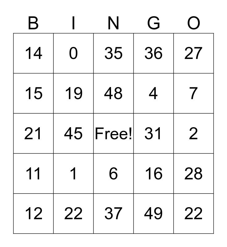 Fransk bingo Card