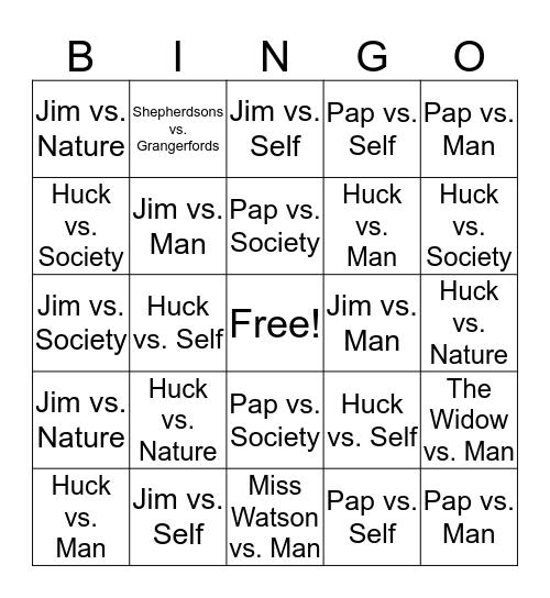 Huckleberry Finn Bingo Card