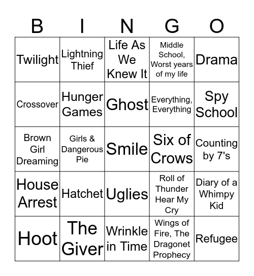 Book Cover Bingo Card