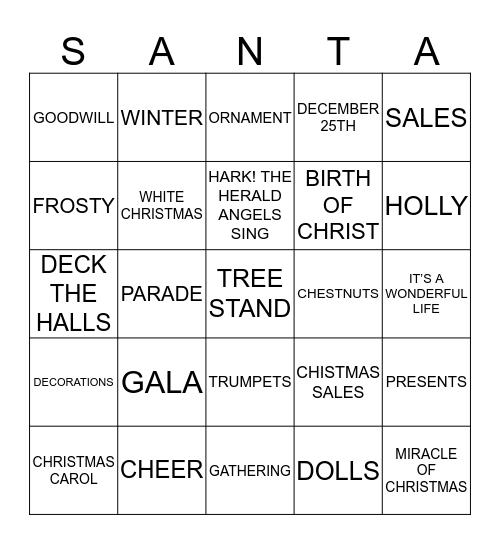 MERRY CHRISTMAS Bingo Card