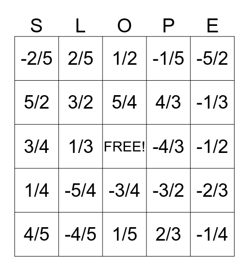 Slope Bingo Card