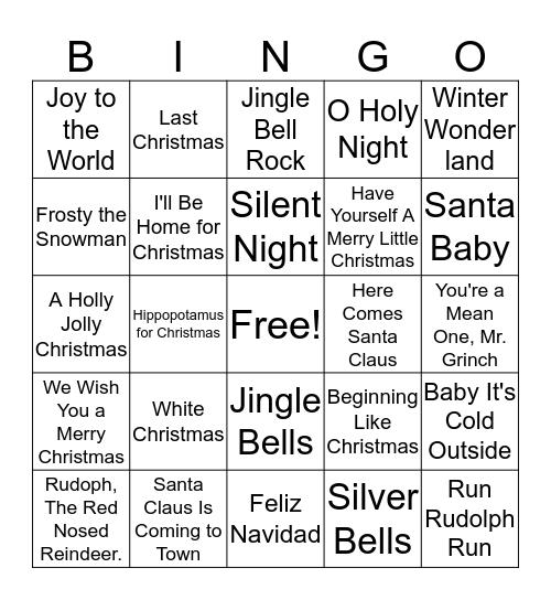 Christmas karaoke Bingo Card
