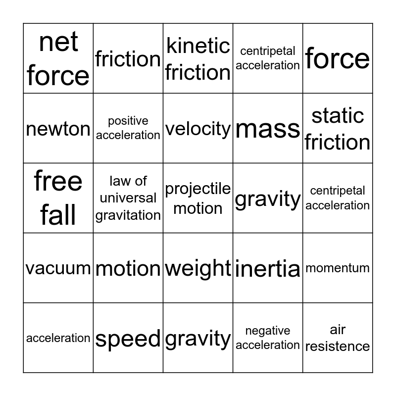 Unit 5:  Motion, Forces, and Work Bingo Card