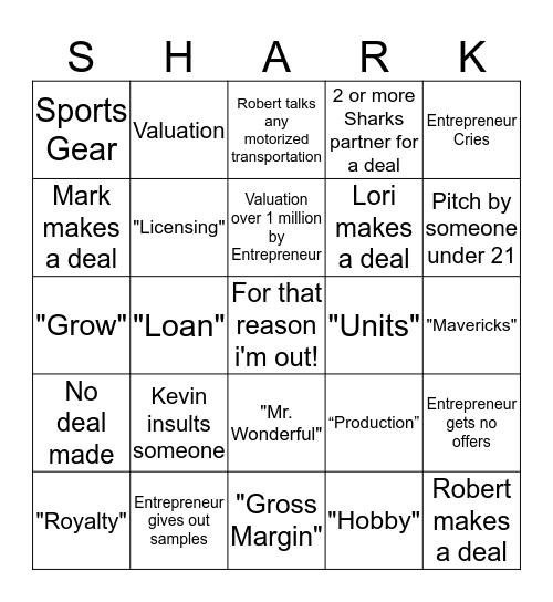 Shark Tank Bingo Card