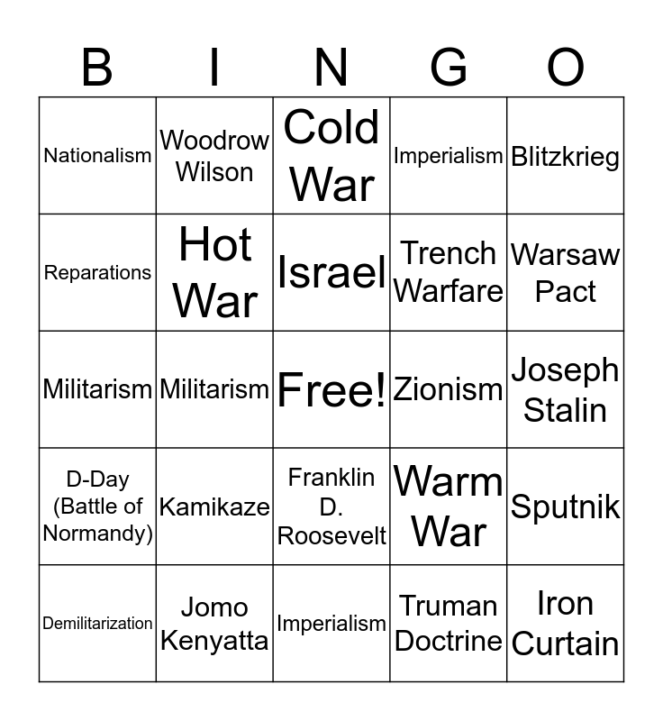 World History Bingo Card