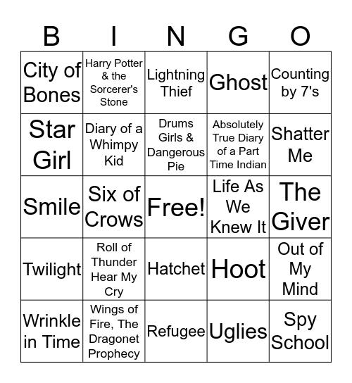 Book Cover Bingo Card