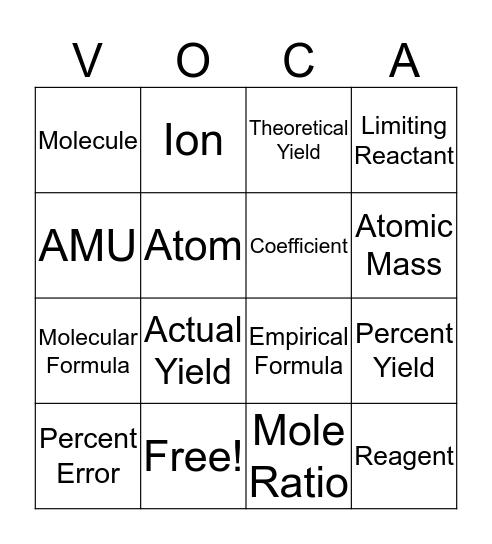 Unit 4 Vocab BINGO Card