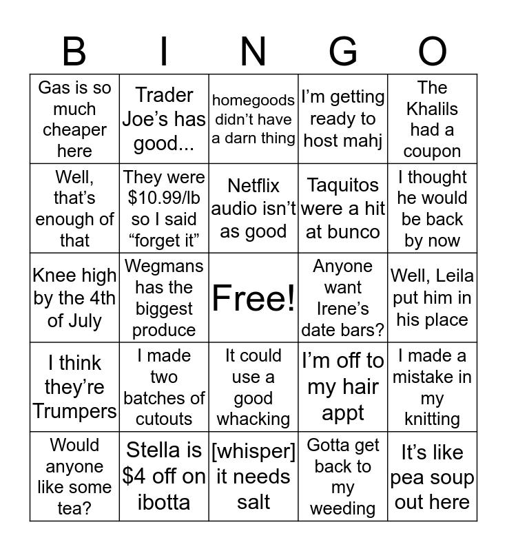 Mom Bingo Card