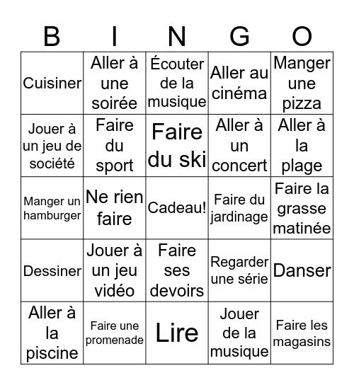 Le weekend dernier Bingo Card