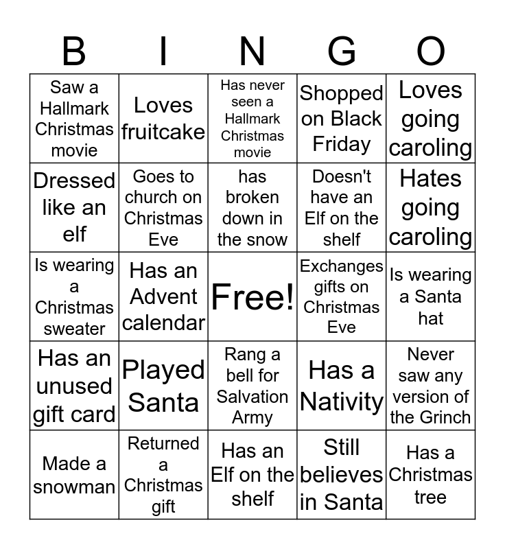 Christmas Ice Breaker Bingo Card