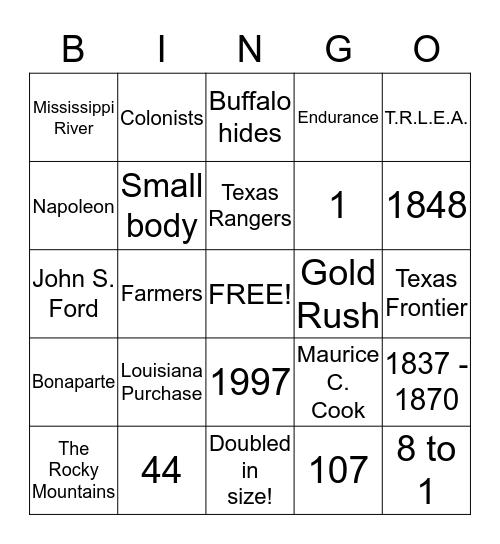 TTLSS Bingo! Bingo Card