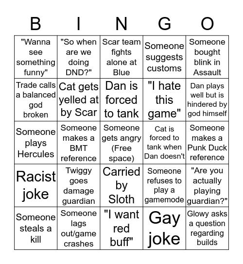 Smite with Dingus Bingo Card