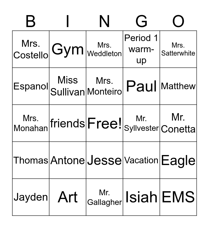 Who or what am I? Bingo Card