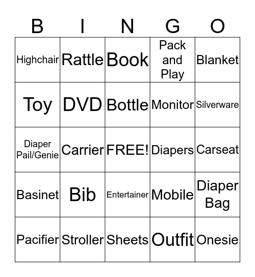 Chase and Rider's Shower Bingo Card