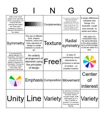 Drawing/Art Bingo Card
