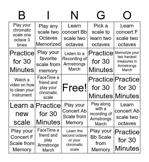 Carwise Band Winter Break Challenge Bingo Card