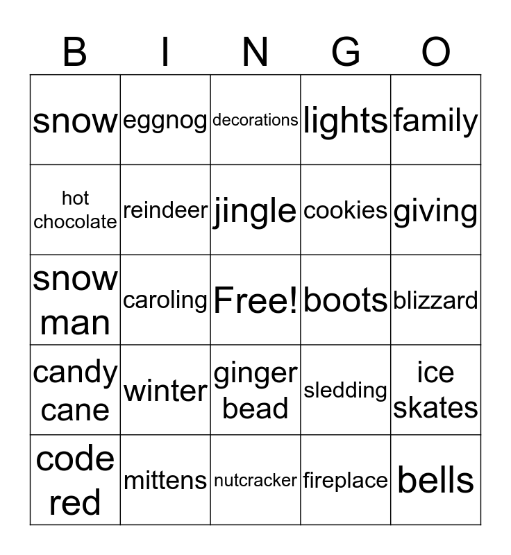 Winter Bingo  Bingo Card