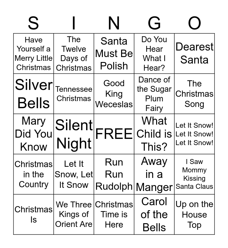 Christmas Singo Bingo Card