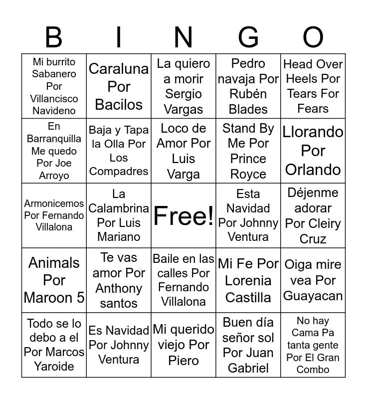 Cancionero Bingo Card