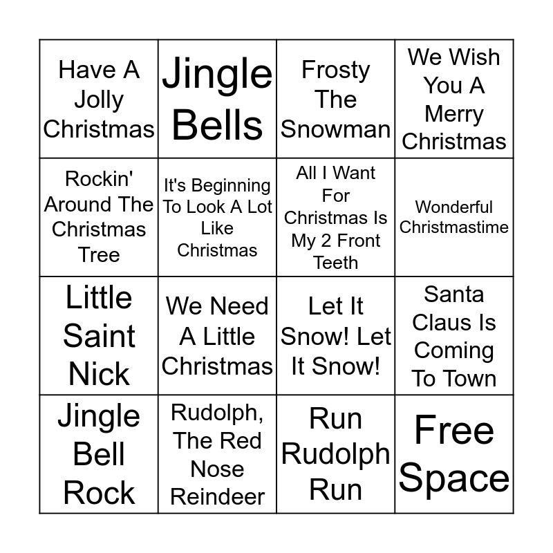 Christmas Carol Bingo Card
