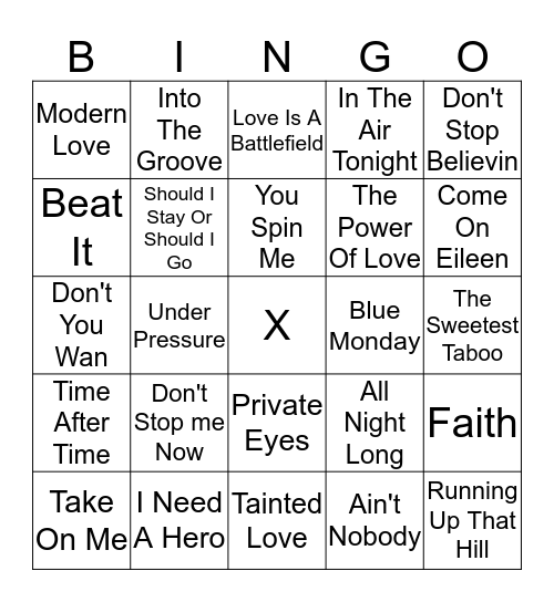 80'S Classics Bingo Card