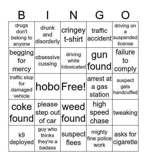 Live PD Bingo Card