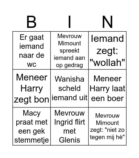 Glenis Bingo Card