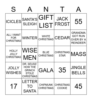 2019 Christmas Bingo Card