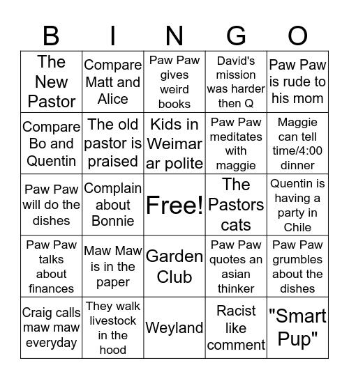 Family time Bingo Card