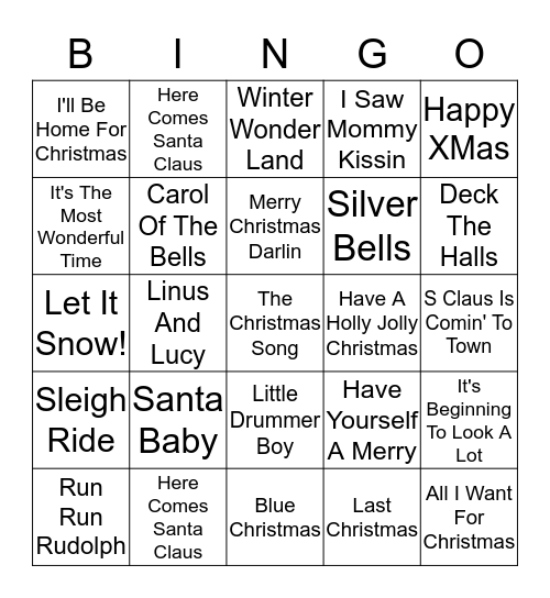Christmas SINGO!! Bingo Card